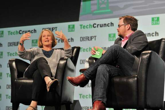 Google Cloud boss Diane Greene chats with moderator Matt Burns during an event at the TechCrunch Disrupt conference in San Francisco in 2016.
