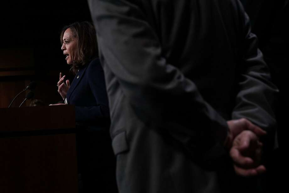 U.S. Sen. Kamala Harris speaks during a news conference at the Capitol in Washington, DC. The Senate Intelligence Committee held a news conference to present findings and recommendations on threats from election infrastructure. Photo: Alex Wong, Getty Images