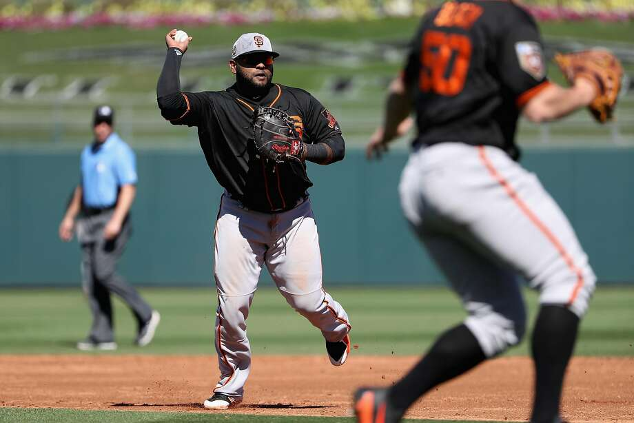 Infielder Pablo Sandoval #48 of the San Francisco Giants fields a ground ball out against the Texas Rangers during a spring training game at Surprise Stadium on March 5, 2018 in Surprise, Arizona. Photo: Christian Petersen, Getty Images