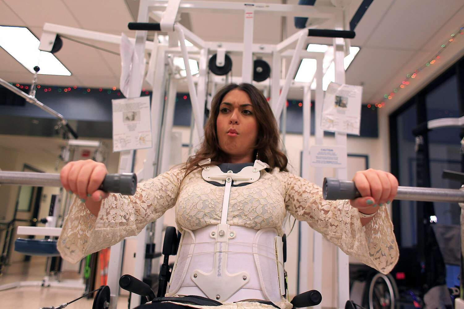 Katie Sharify does physical therapy in 2011.