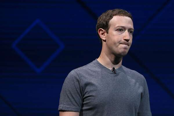 SAN JOSE, CA - APRIL 18: Facebook CEO Mark Zuckerberg delivers the keynote address at Facebook's F8 Developer Conference on April 18, 2017 at McEnery Convention Center in San Jose, California. The conference will explore Facebook's new technology initiat