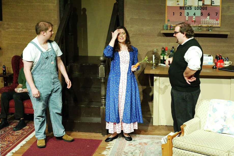 "Pasadena teacher Brianna Bonnette, center,  performs in The Foreigner"" at the Bay Area Harbour Playhouse in Dickinson along with  Aleck Devon, left, and  Sean Deflora. Bonnette's real-life  fiancé, Tyler Thoutt, is helping with sets for the show and plays a small part. In the comedy, Bonnette's character deals with a villainous fiancé. Photo: Kirk Sides / © 2018 Kirk Sides / Houston Chronicle"