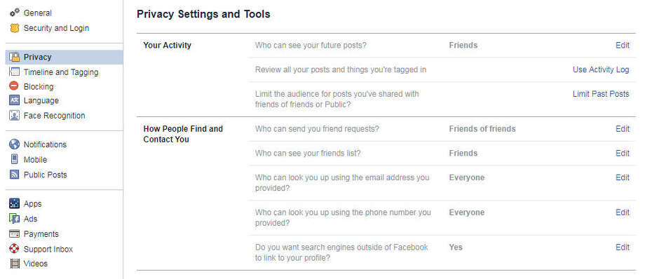This is the main Privacy Settings page for your Facebook account. Photo: Chronicle Screenshot