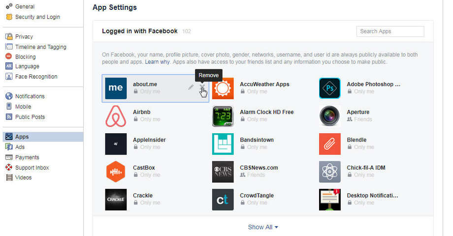 The apps page lets you control how apps access your Facebook data. Photo: Chronicle Screenshot