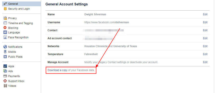 Want to download your Facebook data? Start here. Photo: Chronicle Screenshot