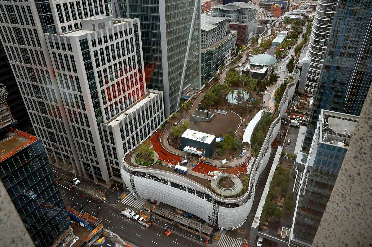 A view of the Transbay Transit Center in downtown San Francisco, Calif., as construction continues on Tues. March 20, 2018. A big grand opening of the $2.2 billion project is already being planned for sometime in June.