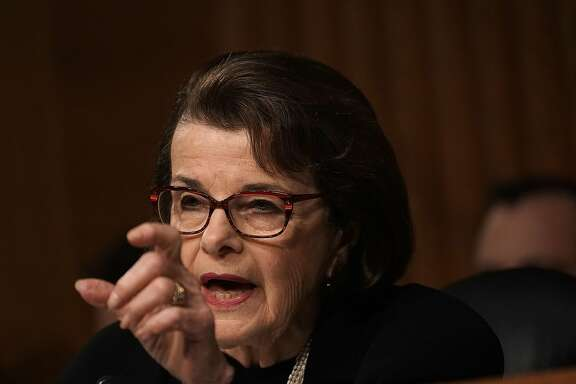 """WASHINGTON, DC - MARCH 07:  U.S. Sen. Dianne Feinstein (D-CA) speaks during a hearing before Senate (Select) Intelligence Committee March 7, 2018 on Capitol Hill in Washington, DC. The committee held a hearing on """"Security Clearance Reform.""""  (Photo by Alex Wong/Getty Images)"""