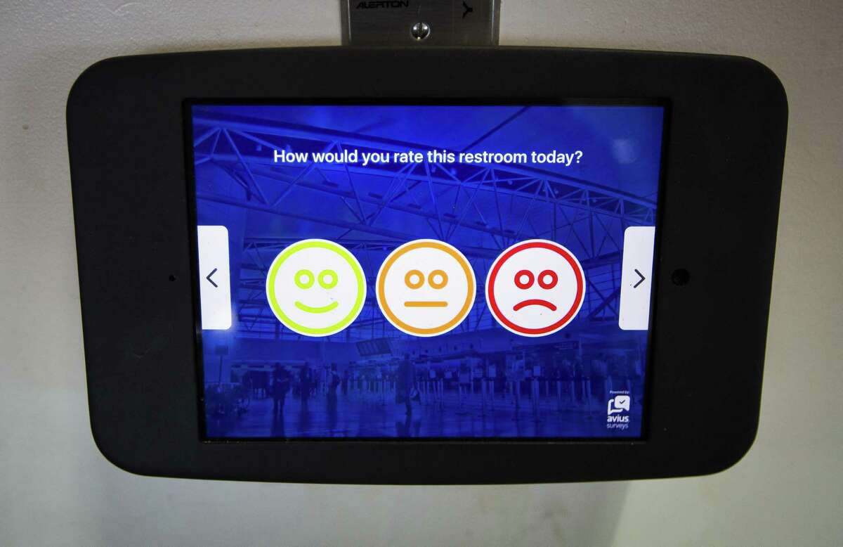 A touchscreen outside of a bathroom in Terminal D at Bush Intercontinental Airport allows users to rate the restroom, Tuesday, March 20, 2018, in Houston. The airport recently received a 4-star rating from Skytrax, making Houston the first U.S. city to have two airports with a 4-star rating from Skytrax.( Mark Mulligan / Houston Chronicle )