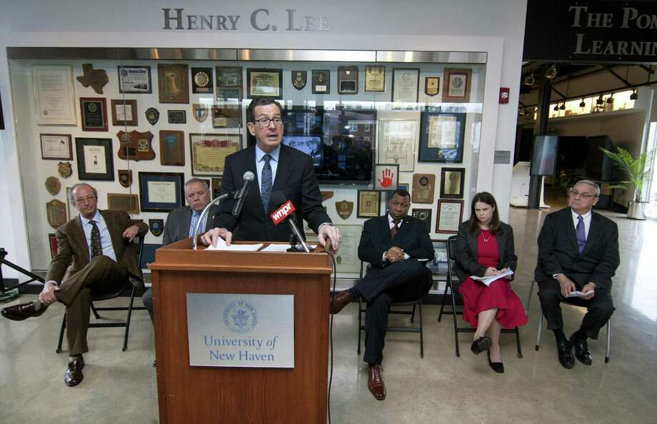 Gov. Dannel P. Malloy speaks at a news conference at the University of New Haven Tuesday. Photo: Christian Abraham / Hearst Connecticut Media / Connecticut Post
