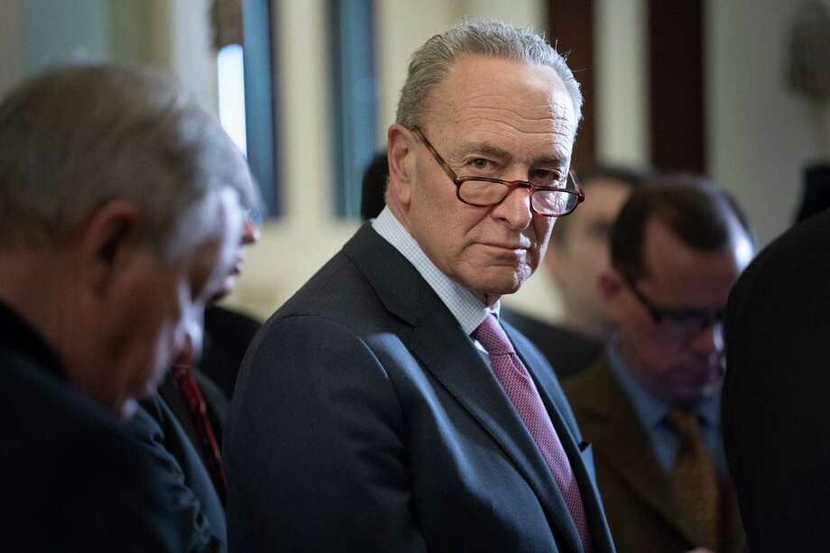 Senate Minority Leader Chuck Schumer (D-N.Y.) speaks following a weekly policy luncheon on Capitol Hill in Washington, March 20, 2018. Photo: ERIN SCHAFF, New York Times / NYTNS