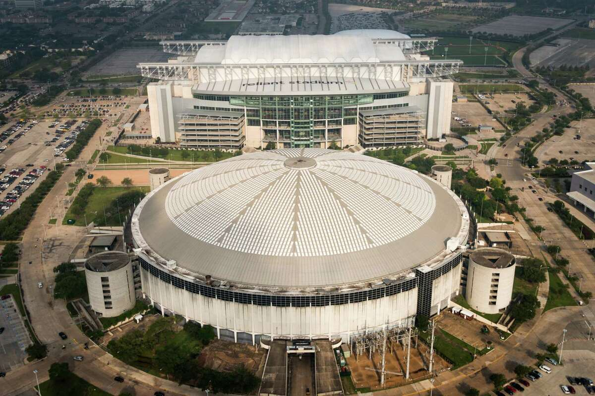 Reliant Stadium and the Reliant Astrodome in Houston seen in an aerial view on May 18, 2013.