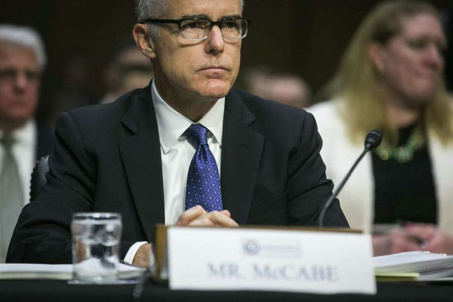 Andrew McCabe, deputy director of the FBI, testifies on Capitol Hill in Washington, May 11, 2017. McCabe, who was fired on March 16, 2018, kept contemporaneous memos about his interactions with President Donald Trump and his conversations with the former FBI director James Comey, a person close to McCabe said. Photo: AL DRAGO, STF / NYT / NYTNS