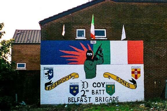 A mural celebrates a company of the Belfast Brigade, in the Provisional Irish Republican Army, 1995