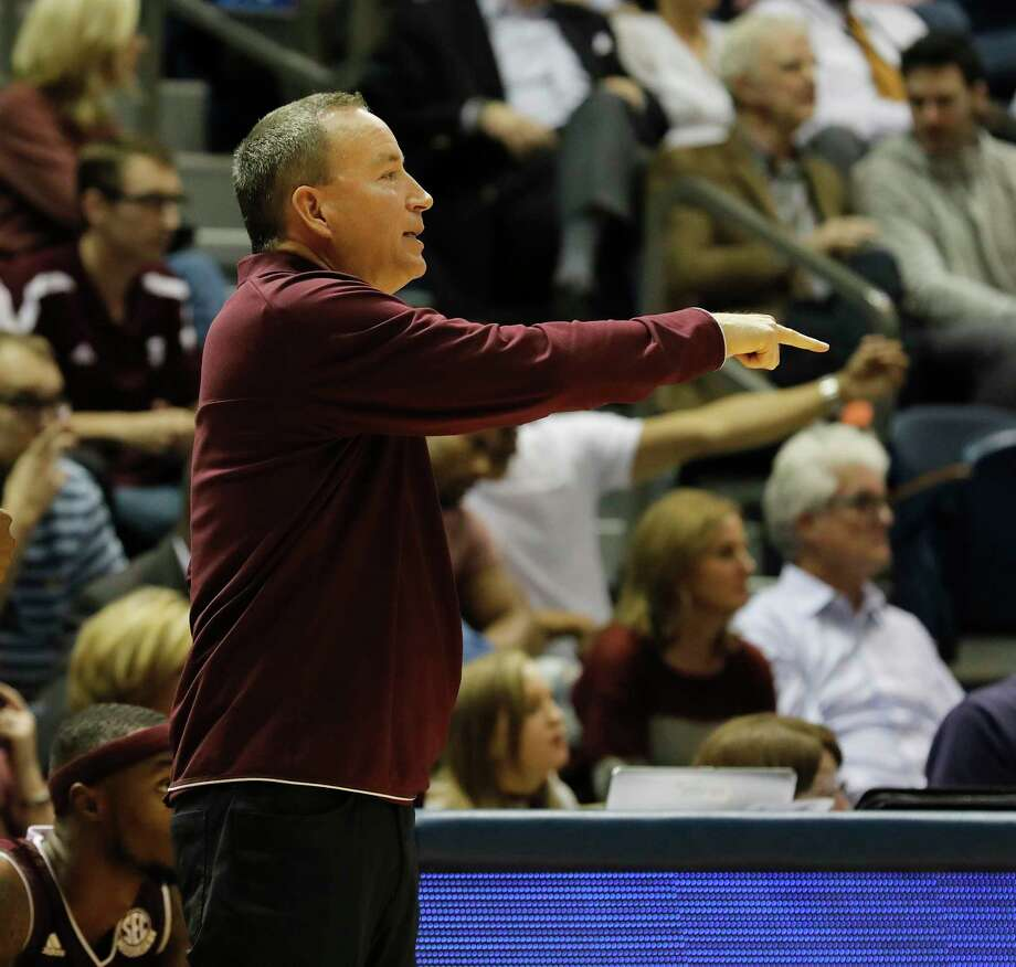 Texas A&M Aggies head coach Billy Kennedy reacts on the bench during the exhibition basketball game between the Texas Longhorns and the Texas A&M Aggies to benefit the Rebuild Texas Relief Fund at Tudor Fieldhouse in Houston, TX on Wednesday, October 25, 2017. Photo: Tim Warner, Freelance / Houston Chronicle