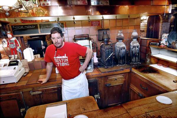 Jeff Lassen, fourth generation owner of Louis' Lunch, the birthplace of the hamburger sandwich, at 261 Crown Street in New Haven.