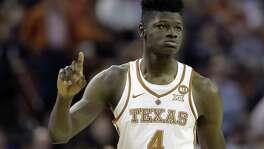 Texas forward Mohamed Bamba (4) during the second half of an NCAA college basketball game against Kansas State, Wednesday, Feb. 7, 2018, in Austin, Texas. Kansas won 67-64.(AP Photo/Eric Gay)
