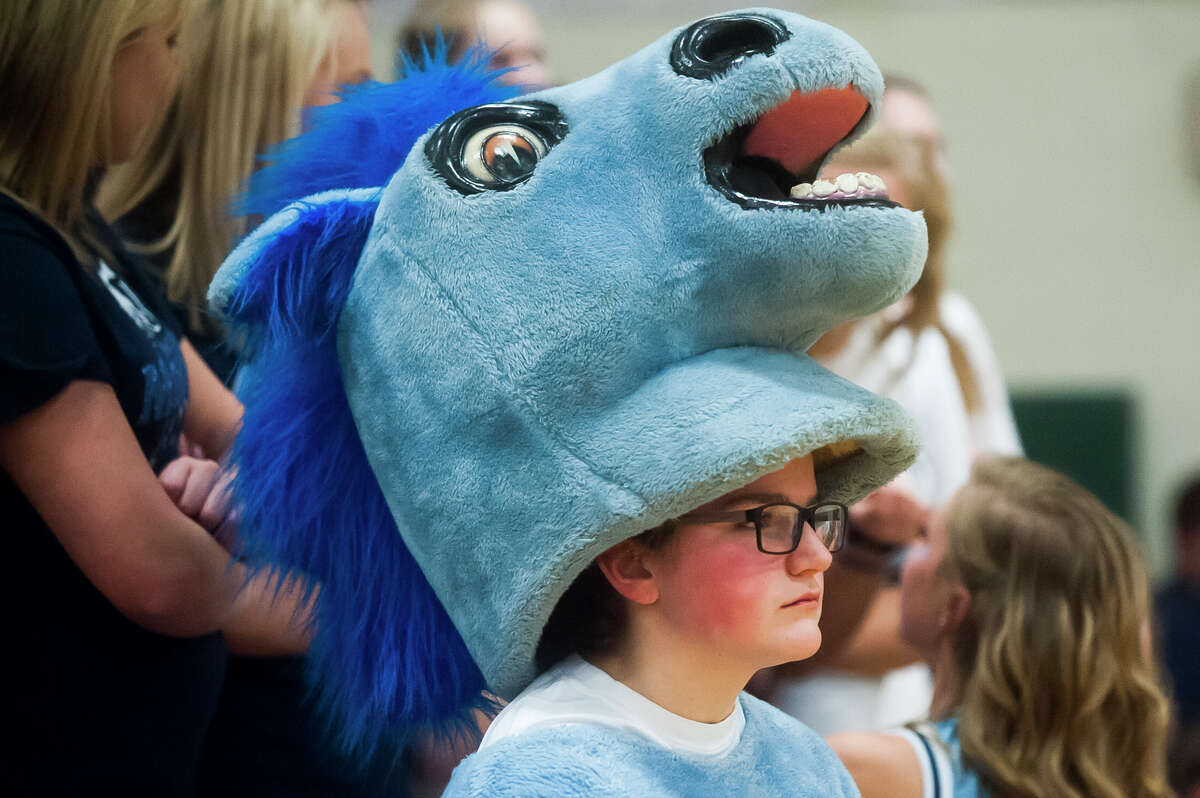 Meridian freshman Ashtyn Kelly watches as the Meridian boys' basketball team loses to Grand Rapids Covenant Christian in the Class C state quarterfinals on Tuesday, March 20, 2018 at Central Montcalm High School in Stanton. (Katy Kildee/kkildee@mdn.net)