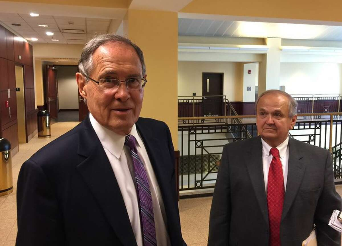 E. Stewart Jones and George Maziarz were in court Friday (Rick Karlin/Times Union)