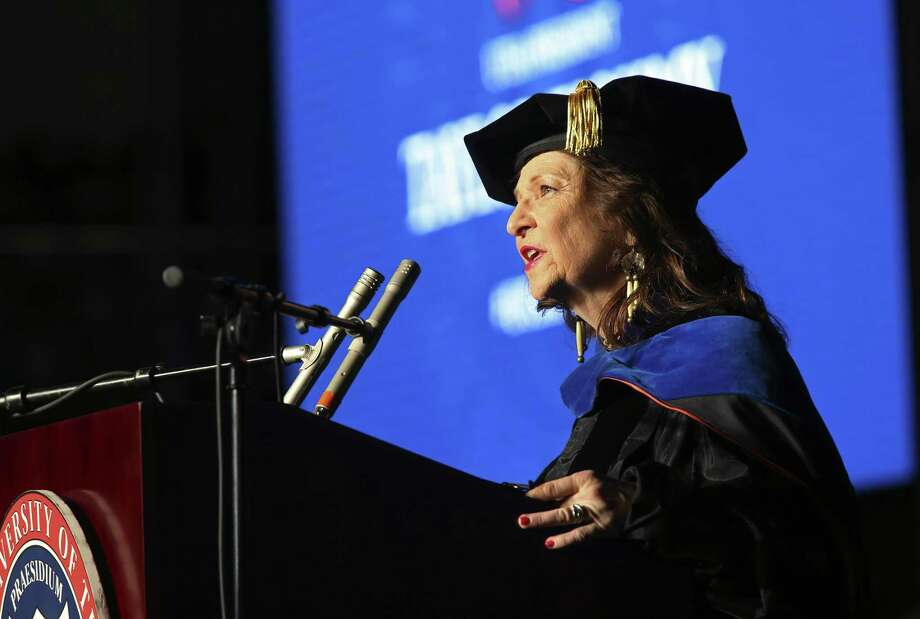 UTSA Professor and former Texas Poet Laureate Carmen Tafolla recites a poem she wrote for Eighmy. Photo: JERRY LARA /San Antonio Express-News / San Antonio Express-News