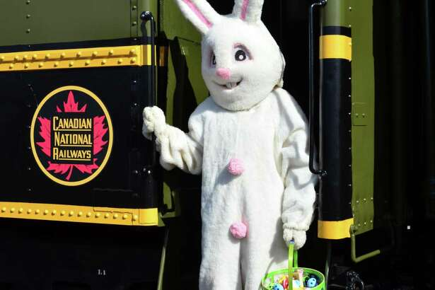 The Railroad Museum of New England welcomes the Easter Bunny on weekends this month.