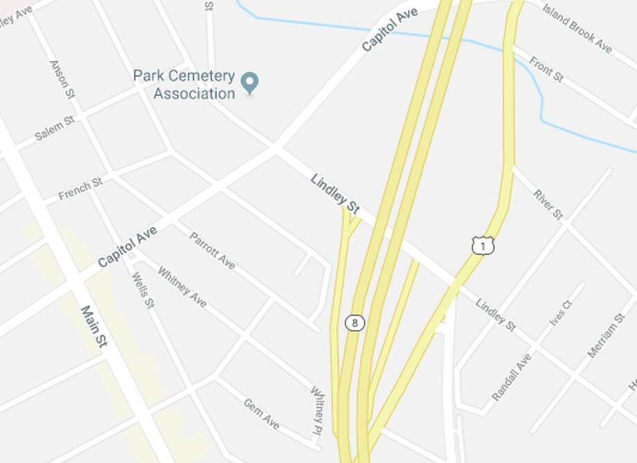 Bridgeport police and fire units were dispatched to Lindley Street where it passes over Route 25, where they apprehended a suicidal person on Tuesday, March 28. Photo: Google Maps