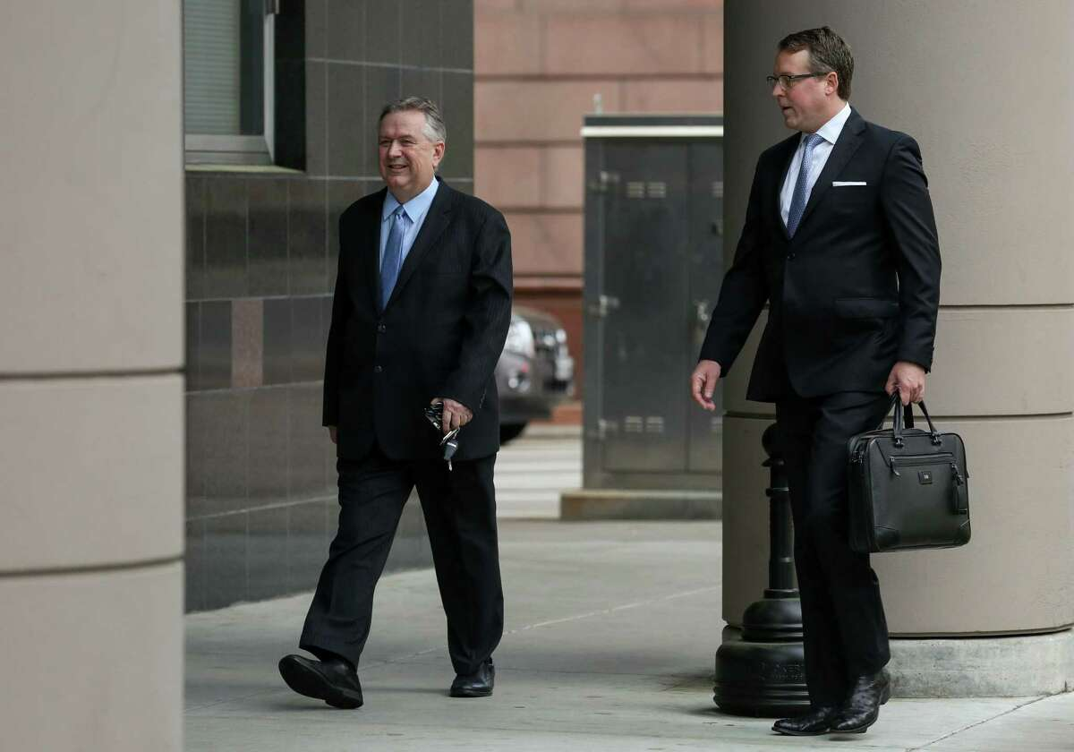 Former U.S. Congressman Steve Stockman, left, and his attorney Sean Buckley walk into the Federal Courthouse for the start of federal corruption trial against Stockman Monday, March 19, 2018, in Houston. ( Godofredo A. Vasquez / Houston Chronicle )