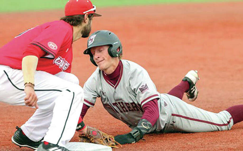 SIUE shortstop Mario Tursi, left, tags out SIUC's Connor Kopach at second base during Tuesday's game at Roy Lee Field. The Salukis beat SIUE 8-3. Photo: SIUE Athletics