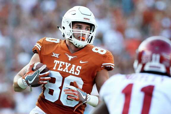 While many are eagerly anticipating Texas' highly ranked incoming recruiting class, coach Tom Herman was quick to point to his first class of recruits and its contributors, like tight end Cade Brewer, left.