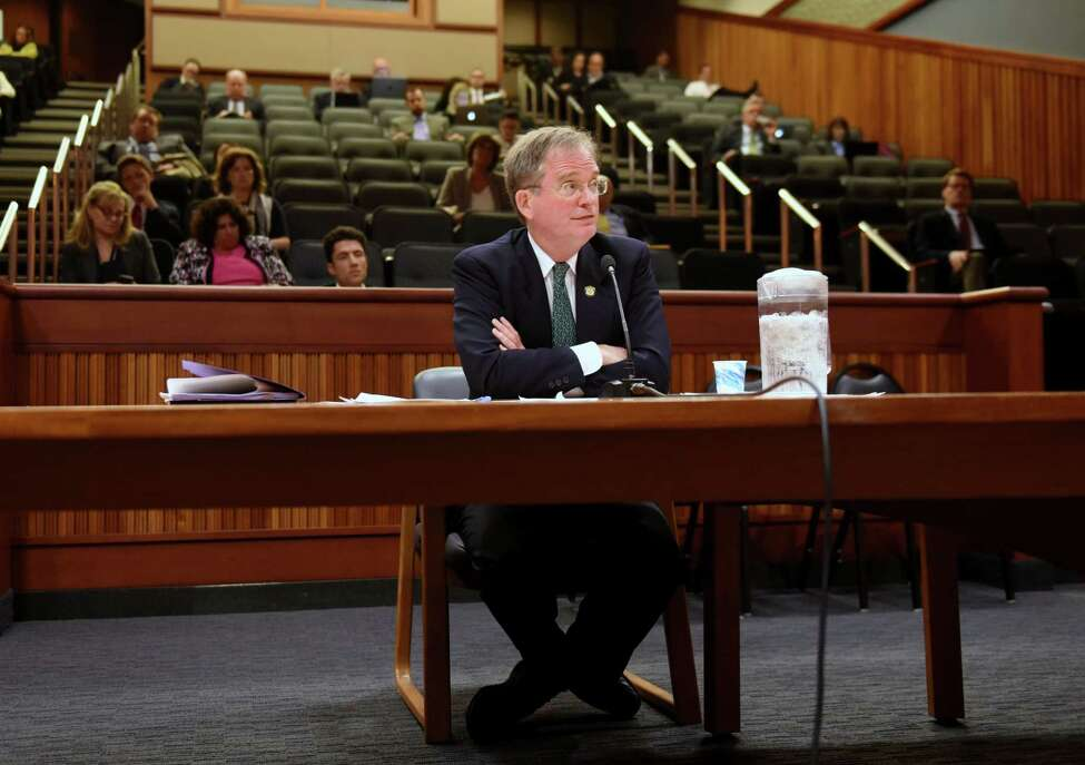 John Rhodes, Governor Cuomo's nomination of as chairman of the Public Service Commission (PSC), is questioned by Sen. John DeFrancisco during a hearing at the Legislative Office Building on Tuesday, June, 6, 2017, in Albany, N.Y. (Will Waldron/Times Union)