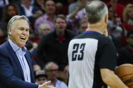 Houston Rockets head coach Mike D'Antoni argues a call with referee Jason Phillips (23) during the second half of an NBA basketball game against the Golden State Warriors at Toyota Center on Saturday, Jan. 20, 2018, in Houston. ( Brett Coomer / Houston Chronicle )