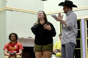 """Beaumont Community Players' Mitchell Junious, Alexa Guilbeau and Johnathon Hankamer rehearse for their upcoming production of Bruce Norris' play """"Clybourne Park"""" at the Betty Greenberg Center for Performing Arts Tuesday night. The show explores issues of race and integration offestting tales of a home purchased in 1959 and 50 years later. Photo taken Tuesday, March 20, 2018 Kim Brent/The Enterprise"""