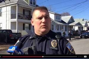 Schenectady police spokesman Lt. Mark McCracken addresses members of the media after a man was shot in a Crane Street home, leading to police search of the neighborhood, on Saturday, Feb. 20, 2016. (Cindy Schultz/Times Union)