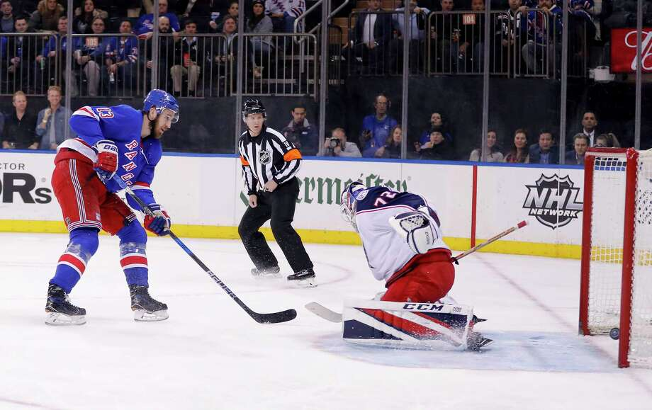 New York Rangers center Kevin Hayes (13) scores a shorthanded goal against Columbus Blue Jackets goaltender Sergei Bobrovsky (72) during the second period of an NHL hockey game Tuesday, March 20, 2018, in New York. (AP Photo/Julie Jacobson) Photo: Julie Jacobson / Copyright 2018 The Associated Press. All rights reserved.