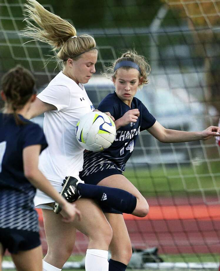 Champion's Mary Claire Stoelzing tries to heel the ball away from Abby Wagner defending against the visitor's threat on goal as the Alamo Heights hosts Champion in grils soccer at Orem Stadium on March 20, 2018. Photo: Tom Reel, Staff / San Antonio Express-News / 2017 SAN ANTONIO EXPRESS-NEWS
