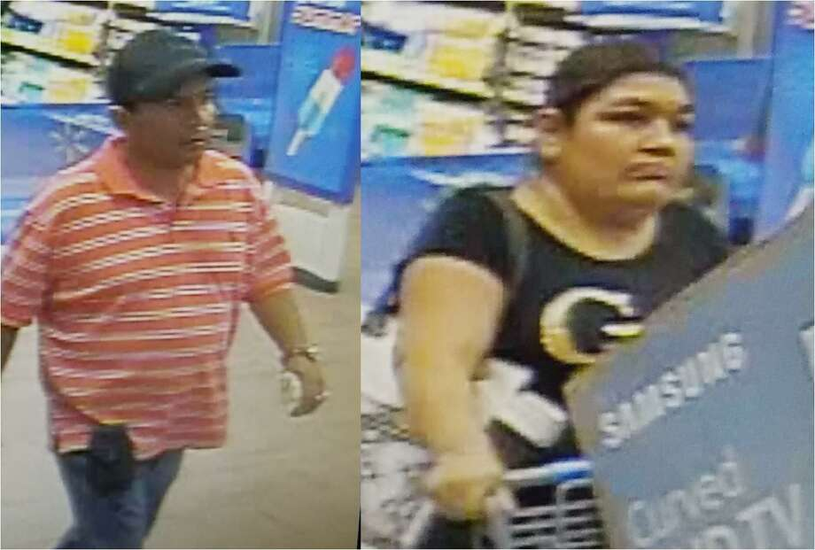 Authorities said they need to identify these two people who allegedly walked out of a local Wal-Mart with a Samsung television. Photo: Courtesy Photo /Laredo Police Department