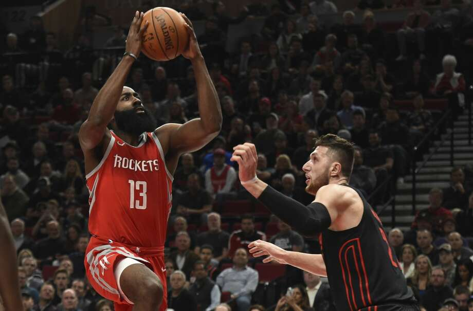 James Harden and the Rockets are two wins away from breaking the franchise record set in the 1993-94 season. Photo: Steve Dykes/Associated Press
