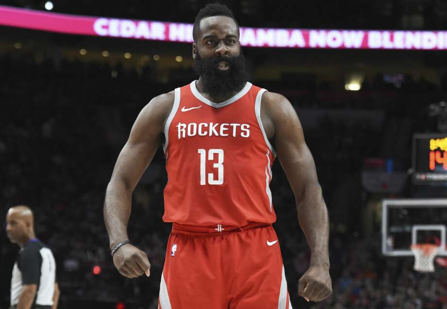 Houston Rockets guard James Harden reacts after making a play during the second half of the team's NBA basketball game against the Portland Trail Blazers in Portland, Ore., Tuesday, March 20, 2018. The Rockets won 115-111. (AP Photo/Steve Dykes) Photo: Steve Dykes/Associated Press