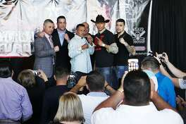 "Laredo's Rodolfo Gomez Jr. (12-4-1, 8 KOs), center right, will fight veteran boxer Ricardo Mayorga (30-10-1, 26 KOs) of Nicaragua in the headliner of the ""Battle of the Borderland 1"" Showdown at Laredo Energy Arena on April 7."