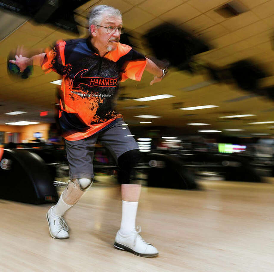 Larry Weiland bowls in a league at Sunset Lanes in Pekin. Weiland bowls with a prosthetic limb on his right leg, starting just below the knee. It's the result of a factory accident when he was working at Corn Products 55 years ago. But it doesn't appear to bother him on the lanes.