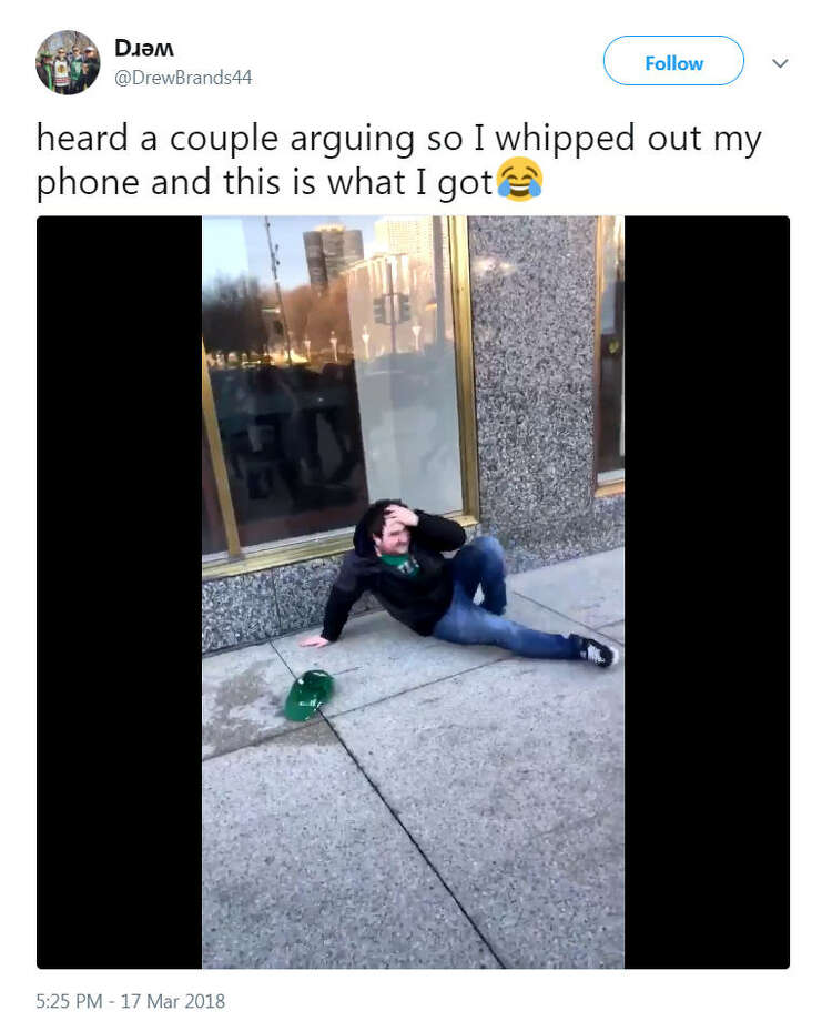 Twitter user @DrewBrands44 recorded a man who headbutted glass in Houston on Saint Patrick's Day. According to the video, the man was arguing with his girlfriend before ramming his forehead into the glass.Image source: TwitterScroll ahead to see everyday people who went viral. Photo: @DrewBrands44 Via Twitter