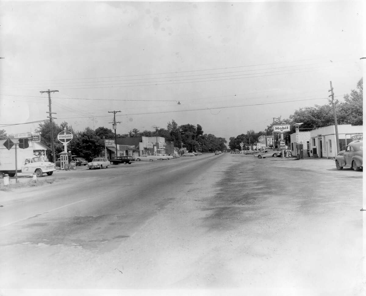 Sanford along a portion of the business district U.S. 10. The 1950 population of Sanford and Jerome Township was  !,625. July 1958