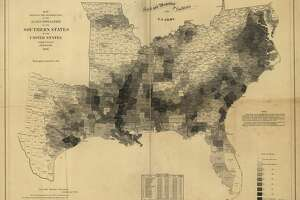 This  Library of Congress map  is pulled from data from the 1860 census and indicates by gray patterns, the percentage of slaves in each county.