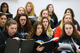 Lumberton High School choir students sing in class on Tuesday. The choir will be performing at Carnegie Hall on April 8.  Photo taken Tuesday 3/20/18 Ryan Pelham/The Enterprise
