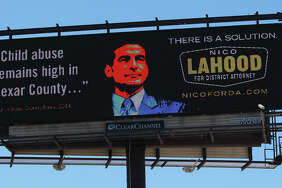 This in an electronic billboard of District Attorney candidate Nico Lahood on Interstate 10 Wednesday October 15, 2014 just west of downtown San Antonio.