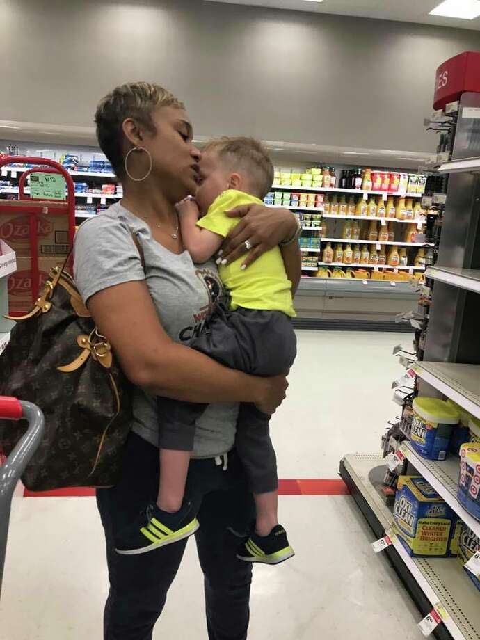 "Pearland mom Rebecca Paterson posted a heartfelt message of thanks after another mom approached her to help with two crying children in Target. ""I'll definitely be paying it forward if I see a poor mom in need of help,"" Paterson said. ""Thanks Tiffany, you're an angel."" Photo: Rebecca Paterson/Facebook"