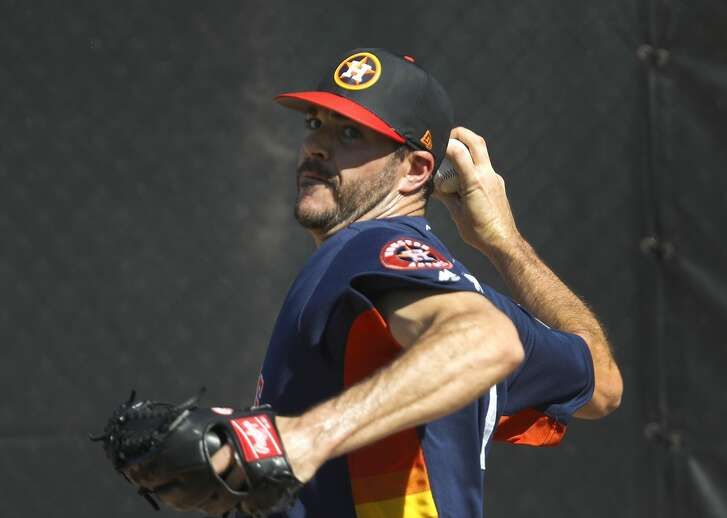Houston Astros RHP pitcher James Hoyt (51) throws a bullpen session during spring training at The Ballpark of the Palm Beaches, Friday, Feb. 16, 2018, in West Palm Beach.   ( Karen Warren / Houston Chronicle )