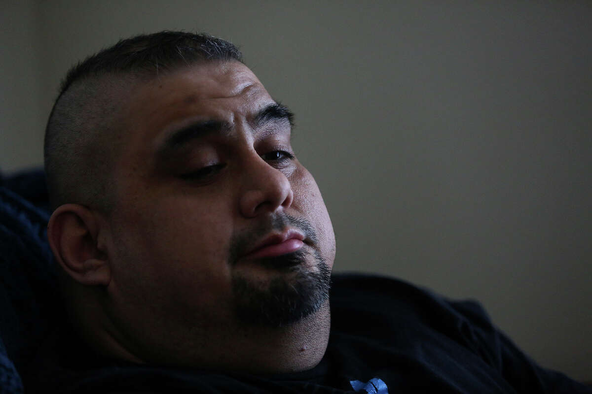 Isaac Rodriguez rests after exercising at his apartment complex on Tuesday, March 20, 2018.