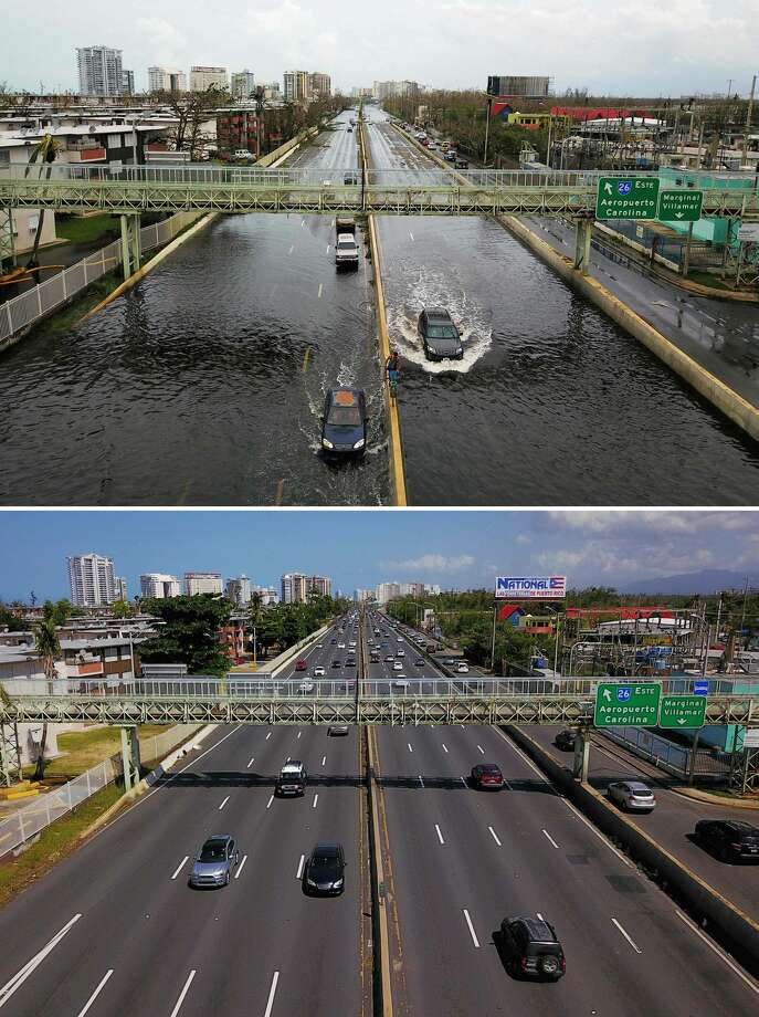 Before and after: The top photo shows cars driving through a flooded road in the aftermath of Hurricane Maria in San Juan, Puerto Rico, on September 21, 2017, and the bottom photo shows the highway six months after the passing of Maria, on March 17, 2018 Photo: RICARDO ARDUENGO/AFP/Getty Images