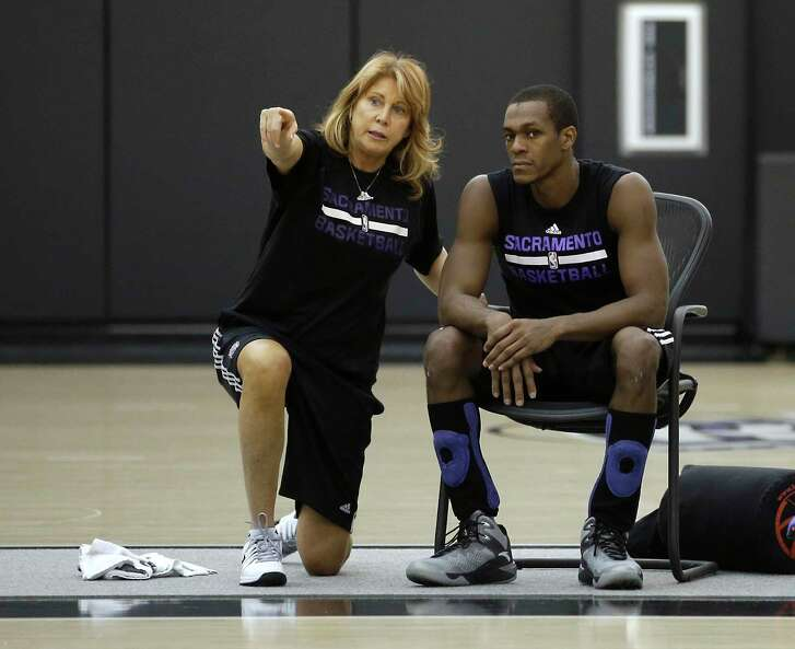 FILE - In this Oct. 26, 2015, file photo, Sacramento Kings assistant coach Nancy Lieberman talks with guard Rajon Rondo during NBA basketball practice in Sacramento, Calif. Lieberman, a Hall of Famer, will coach a team this season in the BIG3, the league announced Wednesday, March 21, 2018. Lieberman, one of women's basketball's star players who has gone on to coach in the NBA, WNBA and NBA Development League, will lead Power. She replaces Clyde Drexler, who recently accepted a job as commissioner of the 3-on-3 league of former NBA players.
