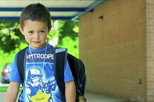 File photo of a New Milford kindergarten student on his first day.
